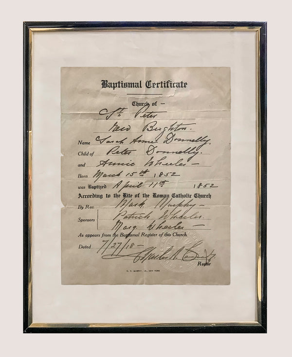 AMAZING 1852 Baptismal Certificate from St. Peter's Church - 1.5K Appraisal Value!