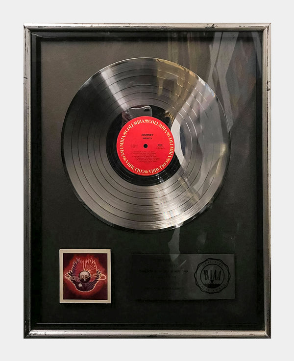 JOURNEY Infinity 1978 Platinum Record Sales Award - $10K APR Value w/ CoA! +✓