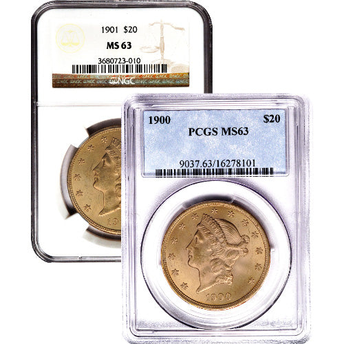 Pre-33 $20 Liberty Gold Double Eagle Coin (MS63, PCGS or NGC)