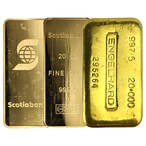 20 oz Gold Bar (Varied Condition, Any Mint)