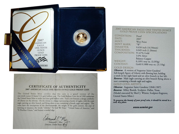 2007 W American Eagle $5 Gold Coin  (U.S. Mint) with Original Case and Book - $600 APR Value w/ CoA! ✿✓