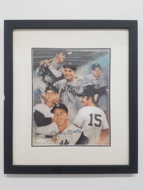 JOE DIMAGGIO and MICKEY MANTLE Signed Lithograph Print, C. 1951 - $4K Appraisal Value w/ CoA! ✓