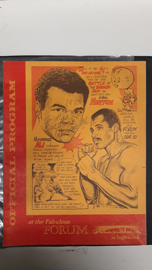 Official Signed Program Muhammed Ali vs Ken Norton Rematch, Sept 10, 1973 -w/CoA $3K APR Value****