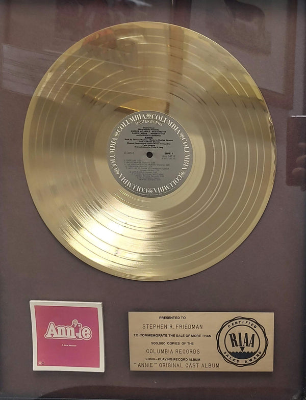 """ANNIE"" Original Cast Album RIAA Gold Sales Award to Stephen R. Freidman - $8K APR Value w/ CoA! *✓"