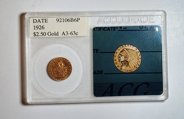 1926 Quarter Eagle Indian Head Coin MS-63 (ACG) - 1.5K APR Value w/ CoA! ✿✓