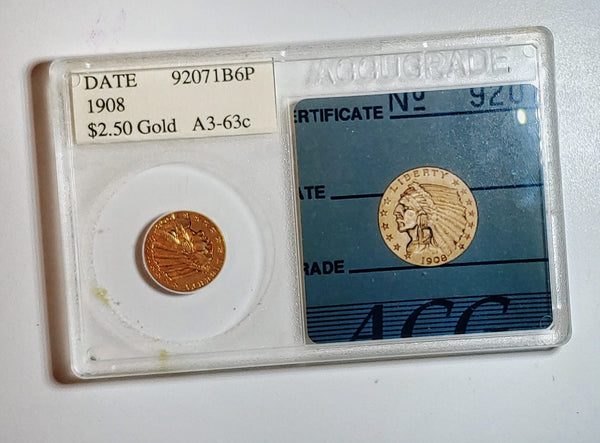 1908 Indian Head $2.50 Coin MS-63 (ACG) - $1.5K APR Value w/ CoA! ✿✓