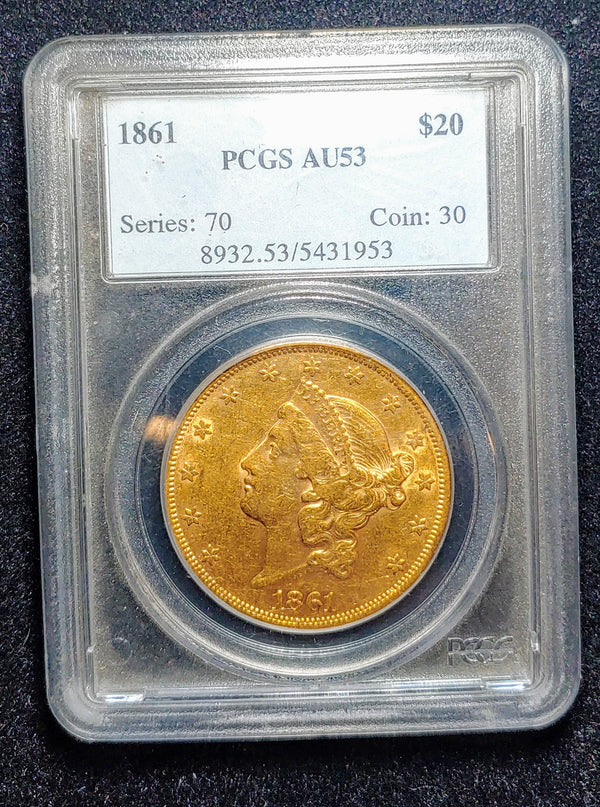 1861 Liberty Head Double Eagle AU-53 (PCGS) - $8K APR Value w/ CoA! ✿✓
