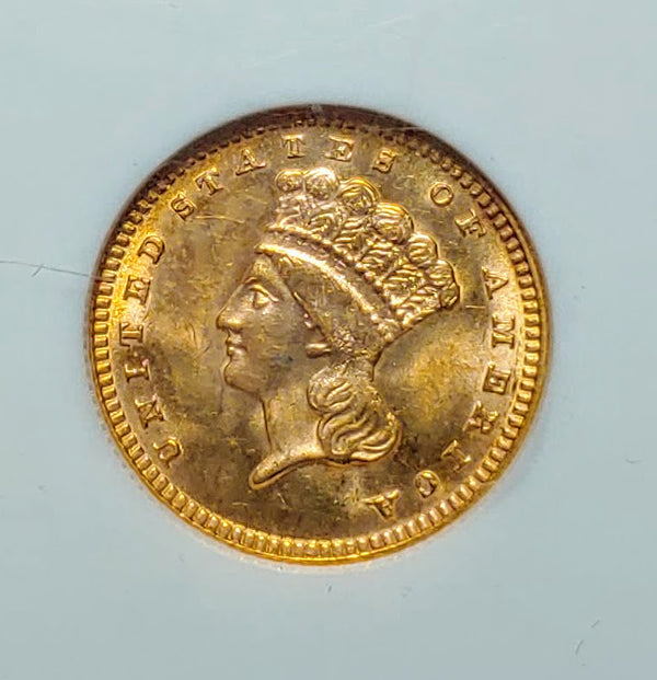 1888 Gold Indian Princess Bass One Dollar Coin MS-65 (NGC) - $10K APR Value w/ CoA! ✿✓