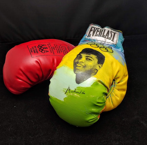 MUHAMMAD ALI Autographed Limited Edition Steve Kaufman Everlast Boxing Gloves - $6K Appraisal Value!