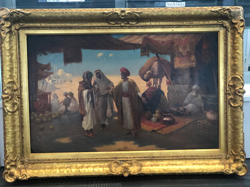 Desert Market Oil on Canvas by A.S. Orientalist style Circa 1800s - $150K VALUE*