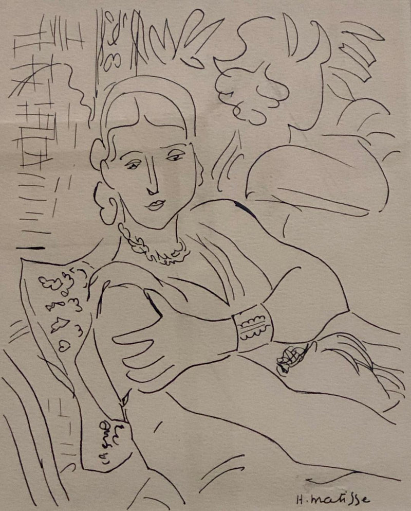 "Henri Matisse, ""Lady Reclining with Hat"", Original Print, c. 1900s - $40K Appraisal Value*"