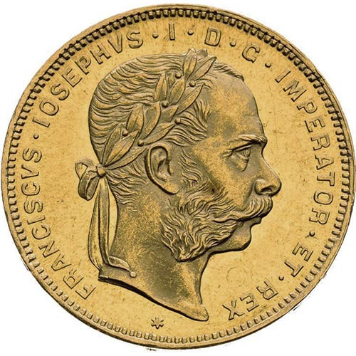 20 Francs / 8 Florin Austrian Gold Coin (Avg. Circulated)