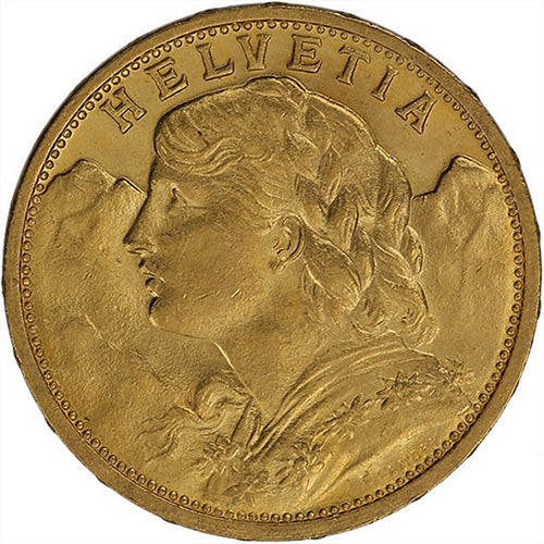 20 Francs Swiss Gold Coin – Helvetia (Circulated)