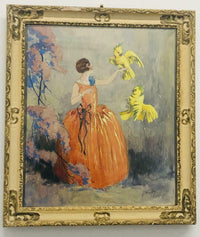 Jean Hardy, Woman with Cockatoos,' Boudoir Watercolor, c. 1929 - Appraisal Value: $20K*