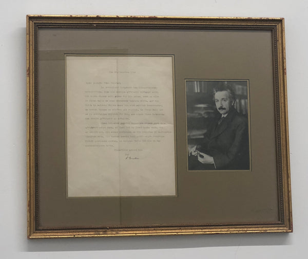Albert Einstein Signed Letter Photograph German 1944 Est $50K Apr Val