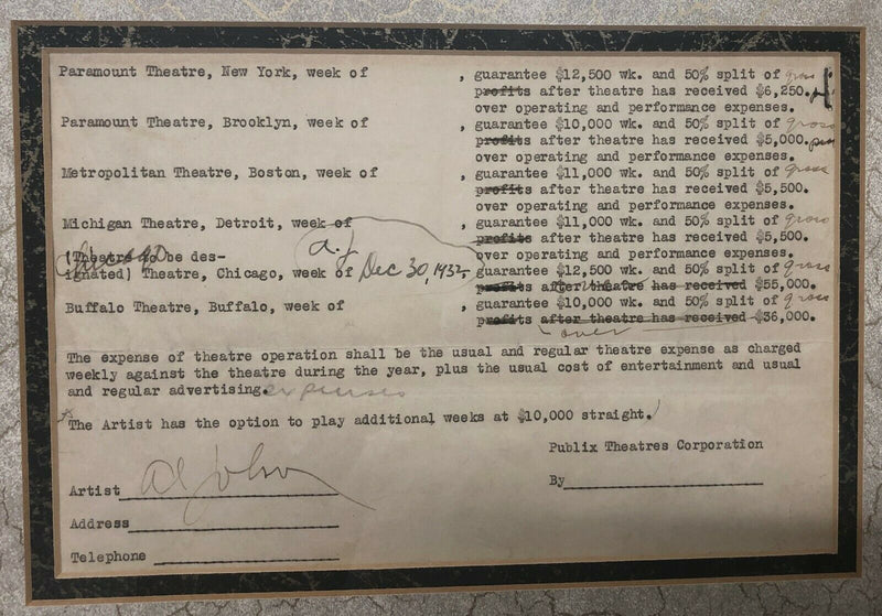 AL JOLSON Signed Contract Highest Paid in Showbusiness April 23 1931 - $100K Apr Value*