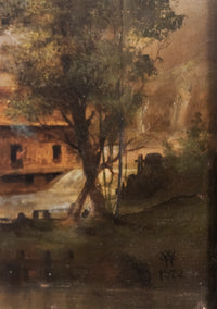 "WC, ""River Mill"", Oil Painting, c. 1872. 19th Century Art - Appraisal Value: $30K *"