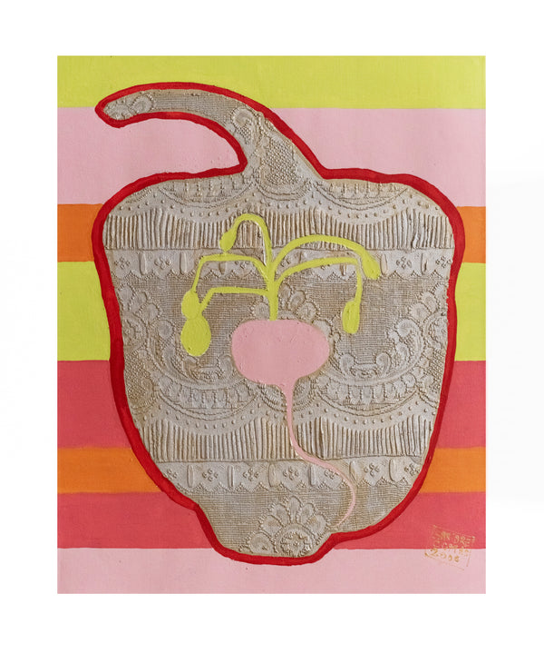 Sandrine Comas, 'Adam and Eve, The Pepper,' Acrylic on Canvas, 2006 - Appraisal Value: $4K!