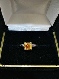 Unique 18K White Gold Fancy Yellow Solitaire Diamond Ring - $50K Appraisal Value w/ CoA!