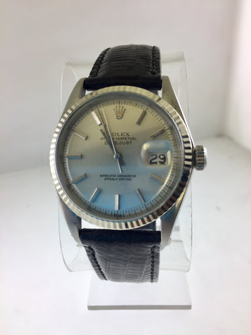 1970's Rolex Oyster Perpetual JustDate Wristwatch With Solid 18K White Gold Bezel - $10K VALUE
