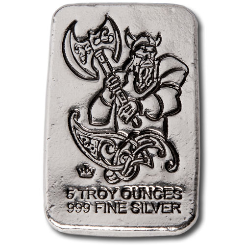 5 oz Monarch Battle Axe Viking Silver Bar (New)