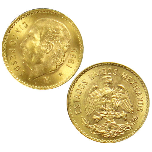 5 Peso Mexican Gold Coin (Random Year, Varied Condition)
