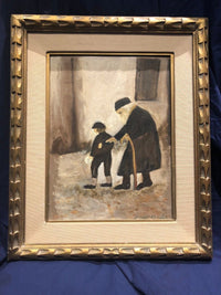 "Joseph Kessler ""Child Walking with Eldery Rabbi"" Original Oil on Canvas, c. 1850, Signed - with CoA - Apr. $7K*"