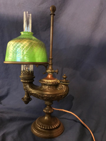 1900s Tiffany Studios Aladdin Lamp L.C.T. Favrile Glass & Bronze Base $30K VALUE