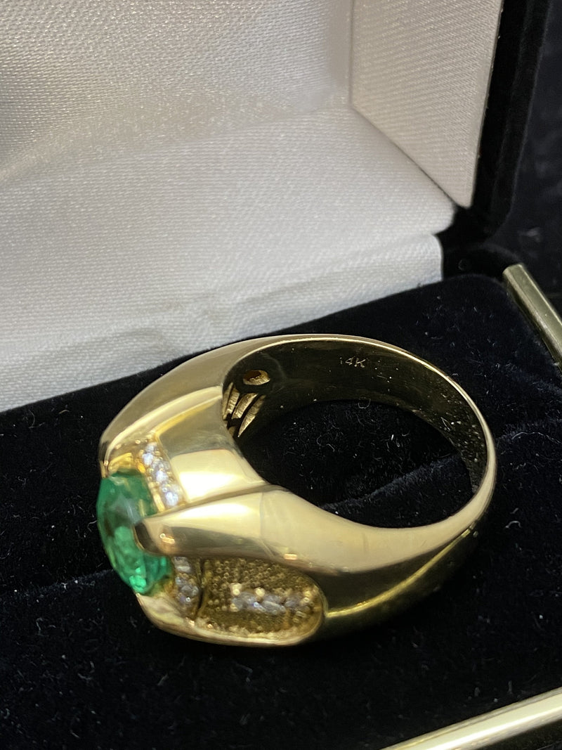 Incredible Designer Solid Yellow Gold Emerald & Diamond Ring - $50K Appraisal Value w/ CoA!
