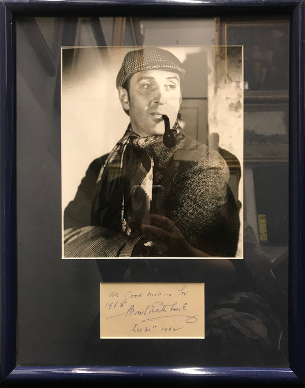 Basil Rathbone Autograph with Photograph as Sherlock Holmes 1962 - Appraisal Value: $3K!