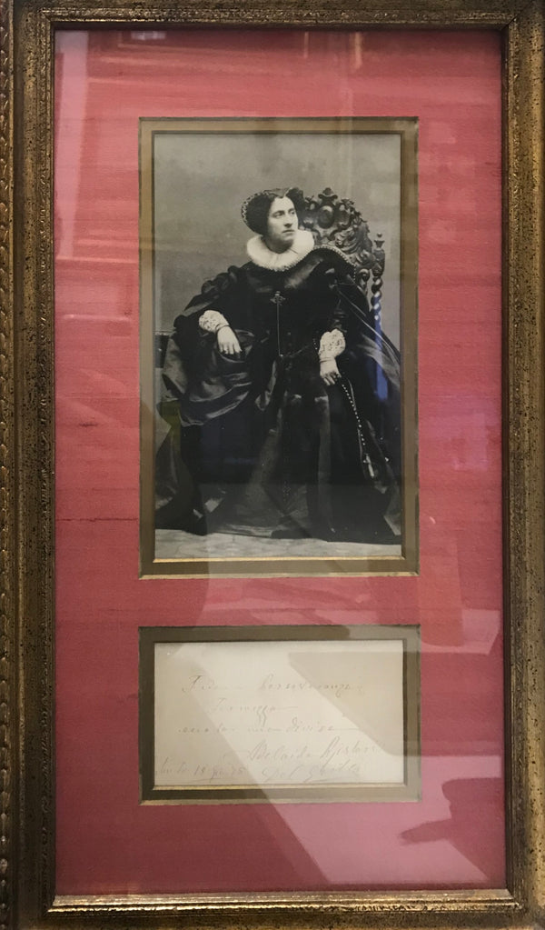 ADELAIDE BORGHI-MAMO Rare Photograph with Autographed Note of Opera Star, 1875 - $4K APR Value w/ CoA! +✓