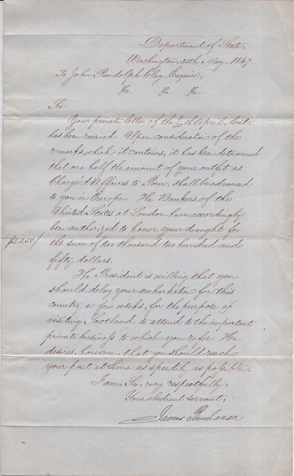 Secretary of State James Buchanan Letter to Chargé d'Affaires John Randolph Clay Signed - $20K VALUE