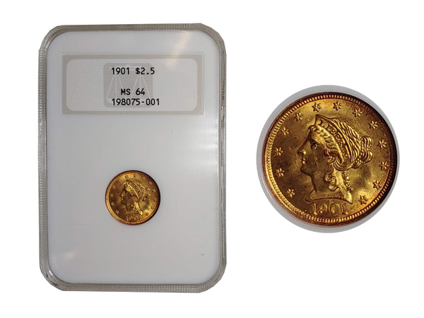 1901 Liberty Head Quarter Eagle Brilliant Gold Toning MS-64 (NGC) - $1.3K APR Value w/ CoA! ✿✓