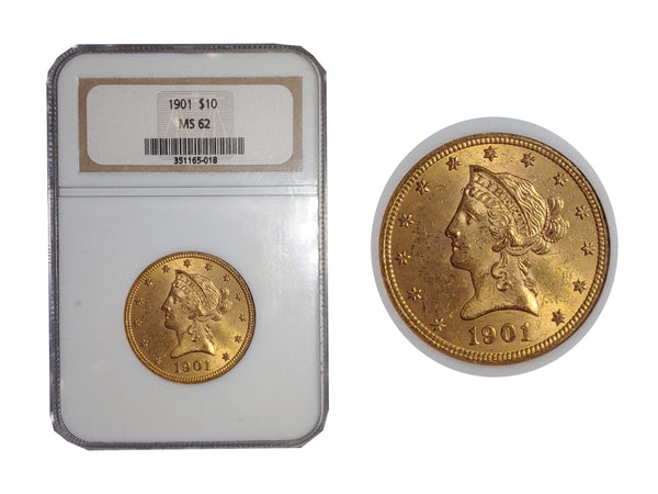 1901 Liberty Head Gold Eagle MS-62 (NGC) - $2K APR Value w/ CoA! ✿✓