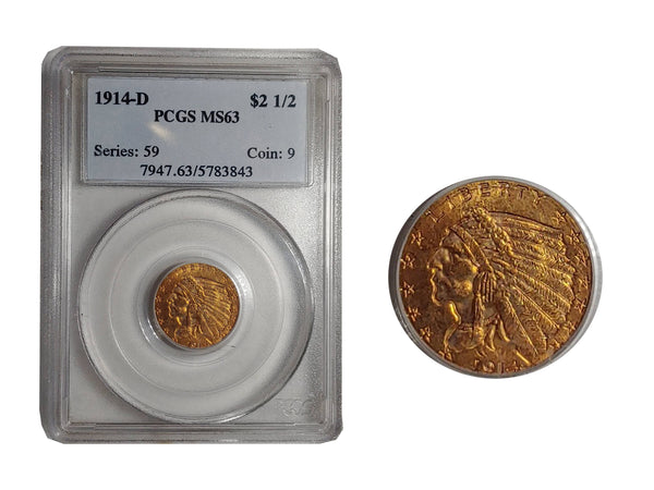 1914-D Indian Head Quarter Eagle MS-63 (PCGS) - $3K APR Value w/ CoA! ✿✓