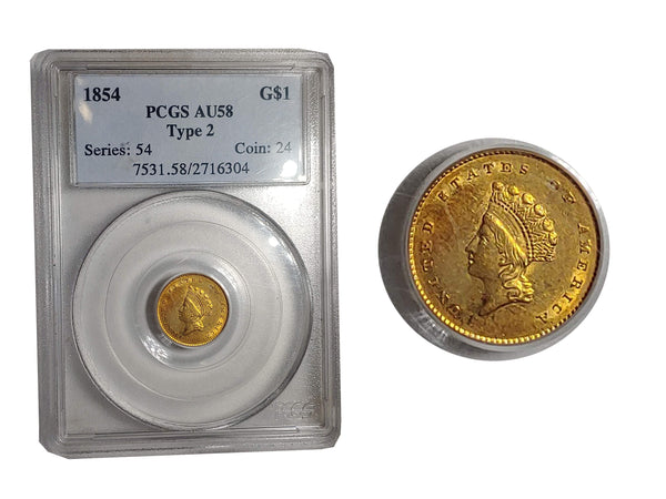 1854 One Dollar Gold Indian Princess Small Head AU-58 (PCGS) - $6K  APR Value w/ CoA! ✿✓