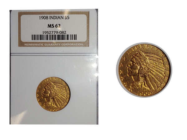 1908 Indian Head Half Eagle MS-62 (NGC) - $1.5K APR Value w/ CoA! ✿✓