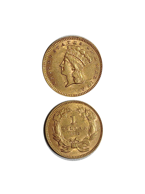 United States 1862 GOLD INDIAN PRINCESS HEAD DOLLAR - $800 APR Value w/ CoA! ★✓