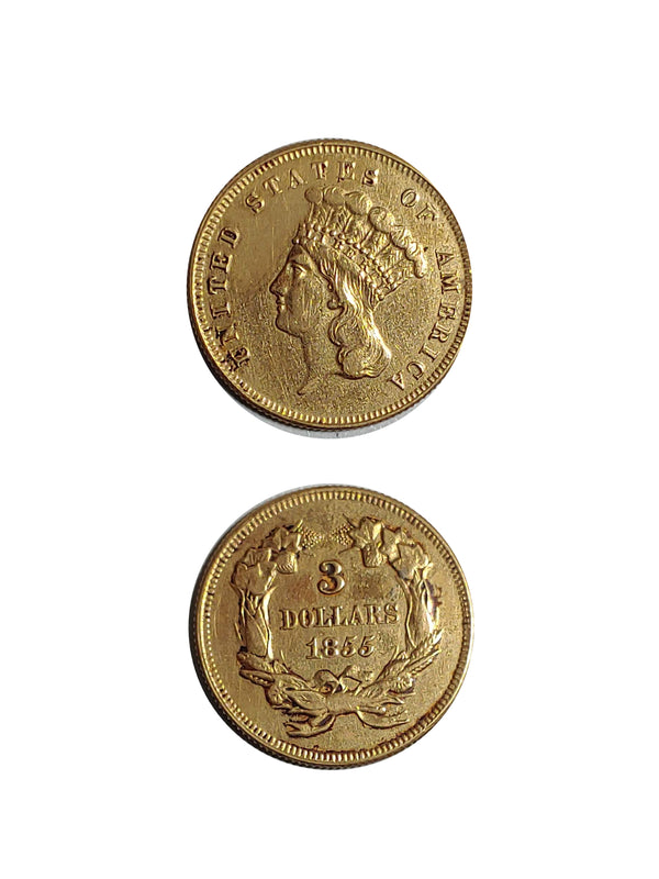 United States 1855 GOLD $3 INDIAN PRINCESS - $3K APR Value w/ CoA! ★✓
