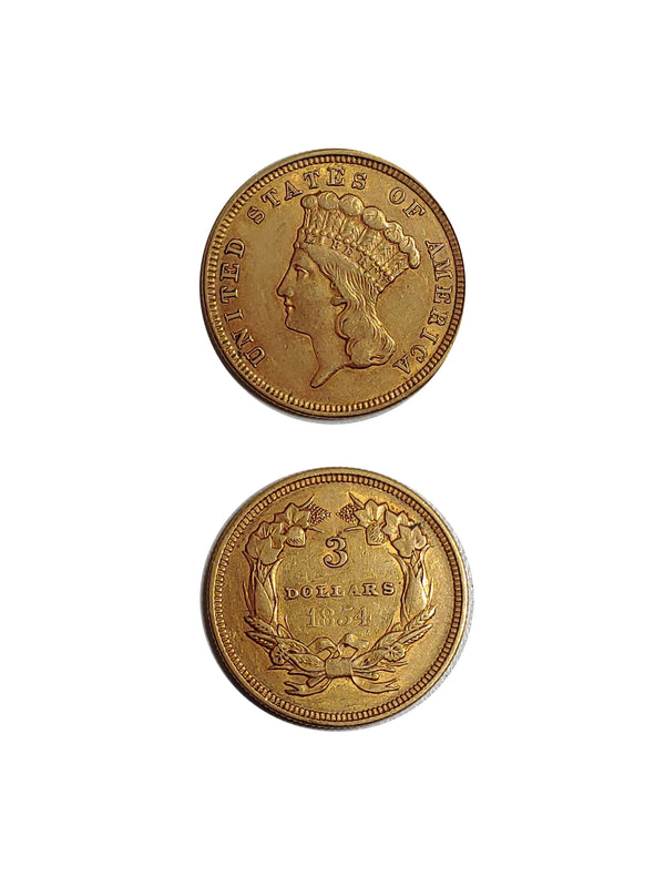 United States 1854 GOLD 3 DOLLAR INDIAN PRINCESS - $4K APR Value w/ CoA! ★✓
