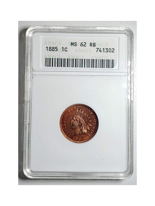 United States 1885 1C INDIAN HEAD RB , MS-62 (ANACS) - $600 APR Value w/ CoA! +✓