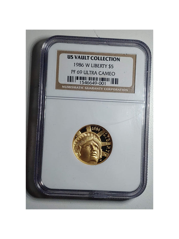 1986-W $5 Gold U.S. Vault PF-69 Ultra Cameo (NGC) - $1K APR Value w/ CoA! ★✓