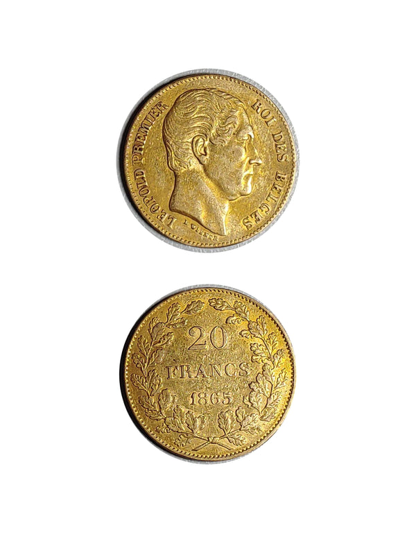 1865 Gold 20 Francs Belgian Leopold - $1.3K APR Value w/ CoA! ★✓