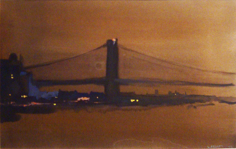 "Lawrence Kelsey, ""Brooklyn Bridge from FDR Drive"", Gouache on Paper, c. 2002 - Appraisal Value: $6K*"