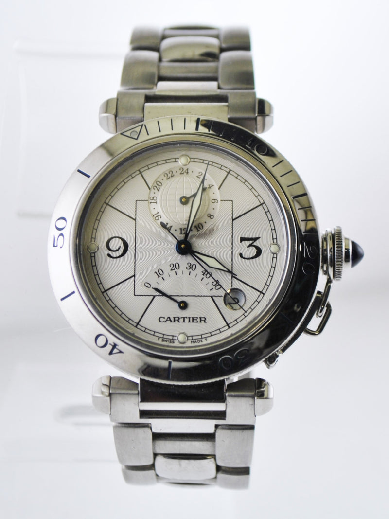 CARTIER Pasha de Cartier GMT #2388 Automatic Wristwatch Power Reserve Link Bracelet in Stainless Steel - $15K VALUE