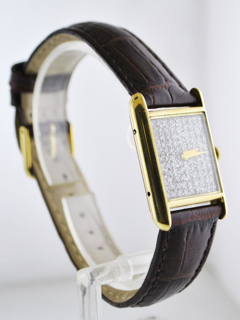 BUECHE GIROD Diamond Dial Wristwatch Mechanical Rectangle in 18K Yellow Gold - $18K VALUE