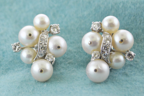 David Webb Diamond Earrings with Pearls Intricate Design in Platinum & Solid White Gold - $20K VALUE