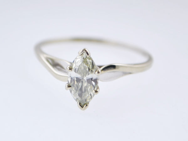 Contemporary Solitary +1 Carat Marquise Cut Diamond Engagement Ring in White Gold - $15K VALUE