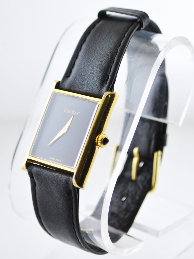 Cartier Mechanic Rectangle Wristwatch with Black Face 18K Yellow Gold Electroplated - $6,500 VALUE
