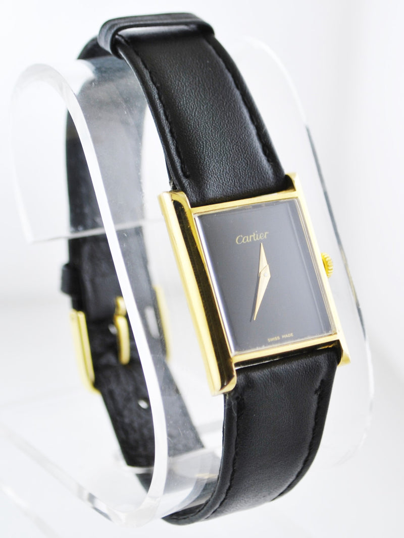 CARTIER Mechanic Rectangle Wristwatch w/ Black Face 18K Yellow Gold Electroplated - $6,500 VALUE